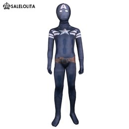 Traje de lycra azul oscuro online-Niños Capitán América Lycra Spandex Zentai Body Niños Azul Oscuro Traje Completo Body Niño Capitán América Disfraces de Halloween