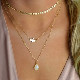 Wholesale Wholesale Peace Jewelry - European Style Multilayer Chain Necklaces Sequin Peace Dove Charm Necklaces Waterdrop Pendant Women Fashion Jewelry A371