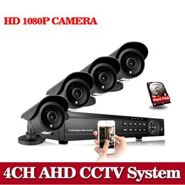 Wholesale Security Cameras 1tb - AHD CCTV System 4CH 1080N 1080P DVR 4PCS 1080P AHD SONY CCD Waterproof Outdoor CCTV Camera Security System Surveillance 1TB HDD