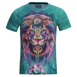 2019 leão 3d do rei camiseta Nova Moda Homens / mulheres 3d t-shirt engraçado impressão colorido cabelo Leão Rei verão fresco camiseta desgaste da rua tops tees desconto leão 3d do rei camiseta