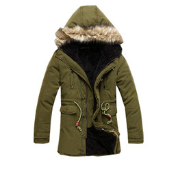 Wholesale Trend Fashion Jacket Korean - Wholesale- 2016 Korean casual men's winter fashion trends solid color long section of zipper warm fur collar hooded cotton jacket XL