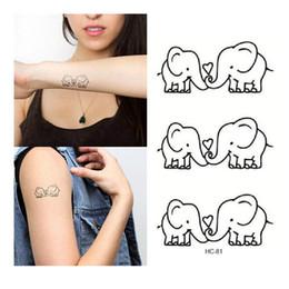 Wholesale Baby Temporary Tattoos - Waterproof Removable Temporary Tattoo Sticker Cute Cartoon Baby Elephant Pattern Flash Tattoo Kawaii Fake Tattoo Stickers