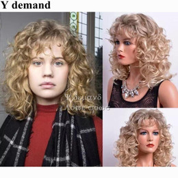 Wholesale Human Like Weave - Afro Hair Blonde Short BOB Curly Wig Fashion Charming Simulation Like Human Hair Weave Full Wigs For Black Women Y demand
