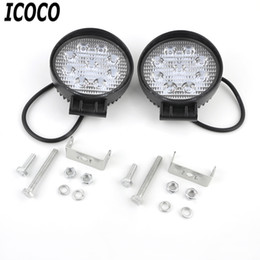 Wholesale Car High Powered Led Spotlights - Wholesale- ICOCO 2pcs set 27W High Brightness Waterproof IP67 Low Power Flood Round Light Spotlight Fog Lamp for Vehicle Automobile Car