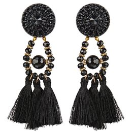 Wholesale Earing Beads - RAVIMOUR Tassel Earrings for Women Bohemia Crystal Bead Dangle Earring Big Round Flower Fashion Maxi Earing Jewelry Dropshipping