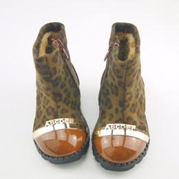 Wholesale Children Leopard Snow Boots - Koovan Children Boots 2017 Winter Models Side Zipper Soft Soled Baby Leopard Shoes Girls Cotton Boots Kids Children Snow 21-25