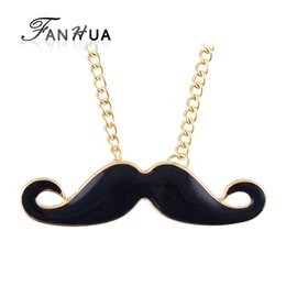 Wholesale Enamel Mustache - Wholesale-Girly Necklace Design Charming Individual Gold Color Chain Enamel Black Mustache Pendant Necklace Collane E Ciondoli