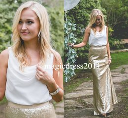 Wholesale Chiffon Two Tone Dresses - Two Tone Country Wedding Boho Bridesmaid Dresses 2016 White & Champagne Sequins Cheap Long Party Prom Gowns Plus Size Maid of Honor Dresses