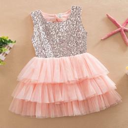 Wholesale Beige Wedding Mini Dresses - New 2017 Summer Infant Baby Girls Sequined Bow Dress Kids Wedding Party Dresses Children Clothing vestido de festa infantil menina