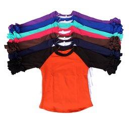 Wholesale Chiffon Kids Ruffle Tops - Whole sales kids icing raglan shirt baby cotton top girls double ruffle cuff Infant clothes