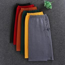 Wholesale Side Steps - Elastic waist stretch knit skirt side split step skirt package hip Slim lace SKIRT