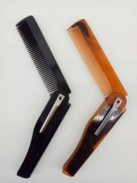 Wholesale Red Beard Man - Folding Moustache Beard Comb Hair Brushes Yellow Black Red Comb Hair Brushes for Men Hair Care