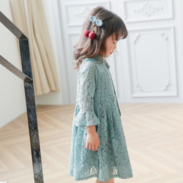 Wholesale Children Girls Lace Dress Bowknot Tie Collar Princess Dresses Pagoda Sleeve Sweet Korean Girl New Party Dress Pink Lake Blue A6318