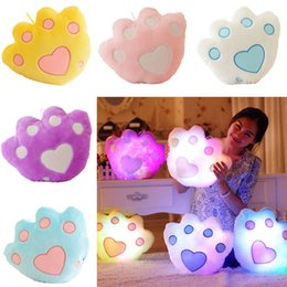 Wholesale Led Pillows - Wholesale- New LED Light Pillow Shining Bear Claw Plush Toys Plush Pillow Gifts for Kids Toys Baby Toys
