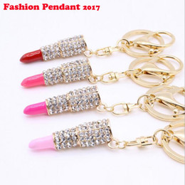 Wholesale Sexy Keychains - Sexy Lipstick Keychain Rhinestone Crystal Keyring Charm Fashion Creative Beautiful Jewelry For Woman Gift Chaveiro Carro
