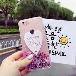 Wholesale Ice Cream Hearts - Quicksand Lovely Heart TPU Bling Bling Ice Cream Case Glitter Stars Liquid For iPhone 7 6s 6 plus 5 5s SE Opp Bag