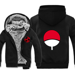 Wholesale Uchiha Hoodie - Wholesale- Naruto Hoodie New Anime Uchiha Sasuke Cosplay Fleece Coat Naruto Uzumaki Jacket Winter Men Thick Zipper Warm Sweatshirts
