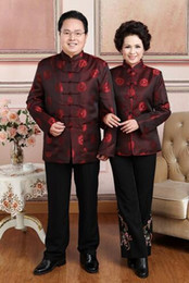 Wholesale Long Sleeved Cheongsam - Elderly sweethearts outfit men and Women Costume long sleeved jacket couples dress traditional Chinese New Year Cheongsam coat