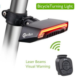 Wholesale Bicycle Turn Signals Led - Meilan X5 Bicycle Smart Rear Light Bike Wireless Remote Turning Control Signal Tail Lamp Laser Beam USB Rechargeable Cycling