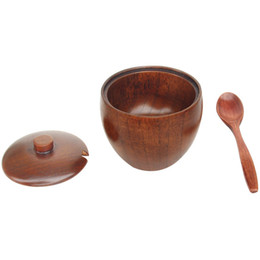 Wholesale Pig Bowl - Nature Solid Wood Round Sugar Jar with Lid with Spoon Bowl Salt Container Kitchen Accessories Storage Case ZA3038