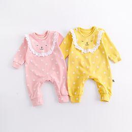 Wholesale Romper Bibs - 2 colors INS Newborn Baby kids fall long sleeve round collar Cartoon little lion romper 100% cotton kids boy clothing Detachable bib romper