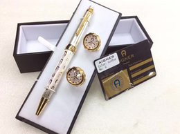Wholesale Ct Shipping - Free Shipping ! ! CT   RA  Aigner Pen Metal Gift Pen golden clip 'A' carviing Ballpoint Pen Classical Luxury Cufflink and box