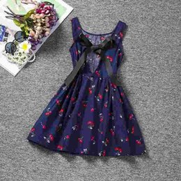 Wholesale Cheap Dress Clothes For Kids - Sundress Baby Girl Halter Dress Children's Girl Clothing Printed Kids Dresses For Girls Party School Wear Size 8 Clothes Cheap