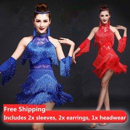 Wholesale Competition Dresses - New Women Latin Dance Dress salsa tango Cha cha Ballroom Competition Practice Dance Dress Sleeveless Rhinestone Sequin Tassel Lace Dress