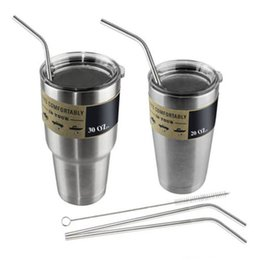 Wholesale Green Straws - 304 Stainless Steel Straw Metal Drinking Straw Beer YETI Straws Cleaning Brush Set Retail Kit Fits Yeti Tumbler Rambler Cups