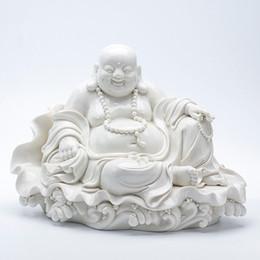 "Wholesale Ceramic Statues - 14.5"" Chinese Dehua White Porcelain Happy Laugh Maitreya Buddha Statue"