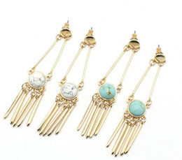 Wholesale Dome Studs - Turquoise Inlay dangle earrings gold metal stud brass tubes semi stone chandelier post earrings smooth finish round dome stud WUWU