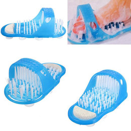 Wholesale Cleaning Slippers - Easy Feet Foot Cleaner Easyfeet Foot Scrubber Brush Massager Clean Bathroom Shower Clean Blue Slippers Spa Treatment OOA2231