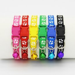 Wholesale Bell Dog - Safety Nylon Dog Puppy Cat Collar Breakaway Adjustable Cats Collars with Bell and Bling Paw Charm width 1.0cm
