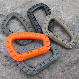 Wholesale Hook Plastic Buckle - D Shape Mountaineering Buckle Snap Clip Plastic Steel Climbing Carabiner Hanging Keychain Hook Fit Outdoor Army EDC