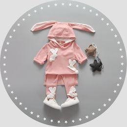 Wholesale Korean Cute Baby Boy - Wholesale- Baby Girl Clothes Korean Style Lovely Newborn Clothing Cute Cartoon Four Rabbits Long Ears Children Roupa Infantil Baby Apparel