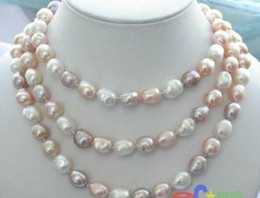"""Wholesale Long Baroque Freshwater Pearl Necklace - NEW long 48 """"8-9mm baroque multicolor freshwater pearl necklace AAA14k"""