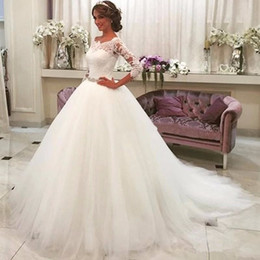 Wholesale Quarter Photo - Hot Sale Saudi Arabia Vestido De Noiva Ivory Lace Three Quarter Muslim Wedding Dresses Real Bridal gown Tulle Ball Gown Wedding Dress