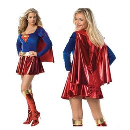 Wholesale Xxl Sexy Girls - Adult Supergirl Costume Cosplay Super Woman Superhero Sexy Fancy Dress with Boots Girls Supeman Halloween Costumes Clothing