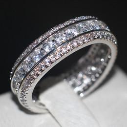 Wholesale Vecalon Channel set Mode Frauen Schmuck Voll Runde Simulierte Diamant Cz Ehering Ring Weißes Gold Füllte Weibliche Fingerring