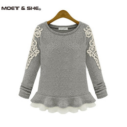 Wholesale Thin Lace Sweater - Wholesale-2016 Winter Autumn Embroidery Lace O-neck Skirt Pullover Wool Sweater Female short slim design Cashmere Tops,Tricot S-XXL #01553