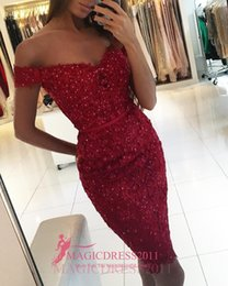 Wholesale Maternity Party Bridesmaid Formal Dress - Chic Burgundy Cocktail Prom Dresses 2016 Vintage Bridesmaid Dress Sheath Off-Shoulder Beaded Ruffled Short Mini Party Formal Gowns