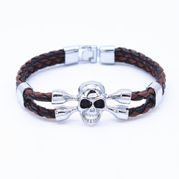 Wholesale Fish Cuff Bracelet - Wholesale- 2016 Punk Skeleton Bracelet femme Leather Cuff Bracelet Skull Bracelets for Women Mens Crystal Snaps Jewelry pulseras