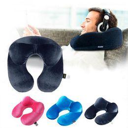 Wholesale Car Seat Head Rest Pillow - Inflatable Neck Pillow Portable Travel Soft U Shape Head Support Cushion Rest Car Flight Seat Pillow OOA2336