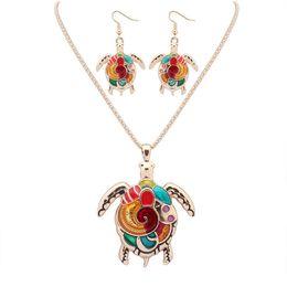 Wholesale Sea Turtle Necklace Pendant - Enamel Rainbow Sea Turtle Pendant Necklace Earring Sets Women Jewelry Silver Gold plated Animal Enamel Jewelry Set Gift