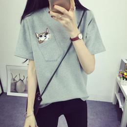 Wholesale roupa korean - Wholesale-summer korean pocket cat roupa feminina tee shirt femme clothes for women female tshirts tumblr poleras camisetas mujer t-shirt