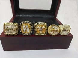 Wholesale Wooden Gift Box Set - 2000 2001 2002 2009 2010 Lakers LA Kobe Championship Ring 5psc Set with Wooden Box DHL Free Shipping