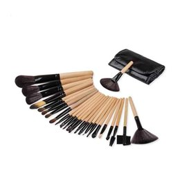 Wholesale Orange Black Powder - 24 Pcs Cosmetic Make up Brushes Tool Kits Eyeshadow Powder Brush Makeup Brushes Set with Case bag