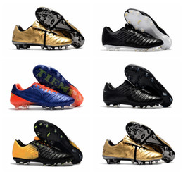 Wholesale Leather Indoor Soccer Shoes - 2017 original soccer cleats outdoor Tiempo Legend VII VI FG mens soccer shoes leather football boots yellow and black cheap soccer boots new