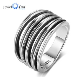 Wholesale Wholesale Banquet Plates - New Women 925 Sterling Silver Rings Multi Layers Design Rings 9.5mm Wide Vintage Style Banquet Party Jewelry JewelOra RI102808