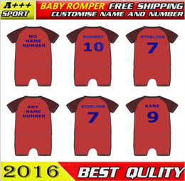 Wholesale Pink Football Sleeves - 2018 World Cup England baby clothes home Red custom ROONEY KANE STERLING Soccer baby oneise romper full baby football jumpsuit